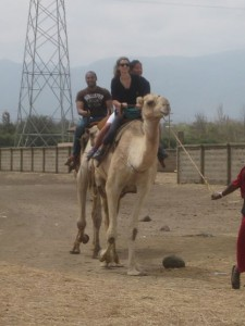 Elana, Carly and Shareeque rode camels after we learned about the Masai and snakes